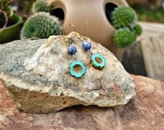 Flower Earrings, Czech Hawaiian Flowers and Lapis Earrings, Handmade Jewelry Gifts for Her from The Hidden Meadow