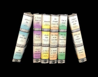 Vintage Book Bundle Detective Stories Set of 6 Hardcover Detective Book Club Old Book Collection Home Decor Pastel Book Rainbow Mystery Book