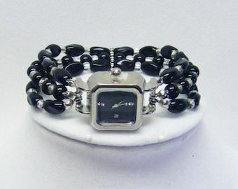 Silver Plated Box Watch w/Jet Twist Bead Bracelet