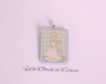 Alice and as of hearts pendant, sky blue and gold