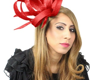 Hurricane Red  Fascinator Fascinator Hat for Weddings, Races, and Special Events With Headband