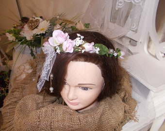 country wedding flower Crown headband nature cottage chic vintage Bohemian