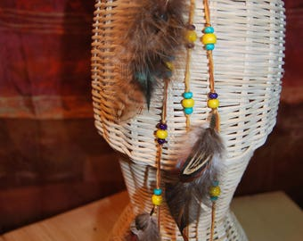 Hairpin - Bobby Pin - feathers - beige/turquoise/purple/pink Tyrian/yellow beads - Unique Piece-