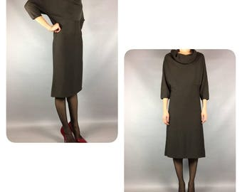 Wool Dress Olive Vintage Dress Small Midi Secretary Dress Vintage Dress Small Wool Dress Midi Dress Olive Secretary Dress Dress Small Dress