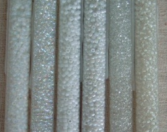 Japanese Seed Beads, 60 Grams, Size 11, 11-004, 11-004F, 11-218, 11-533, 11-743, 11-757