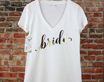 Bride Shirt. Gold Foil Bride T-Shirt. Bridal Shower Gift. Bride Shirt. Bride Tee. Bride Tank Top. Mrs Shirt. Mrs Tee. Bachelorette Party