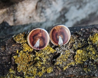 Cufflinks from plum tree inlaid with seraphinite, wooden cufflinks, Wedding gift, Gift For Men, Gift For Him, wooden cufflinks inlay