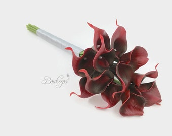 Choose Calla Lily & Ribbon Color - Pageant Bouquet, Pageant Red Calla Lily Bouquet, Real Touch Dark Red Calla Lily Bouquet, Wedding Bouquet