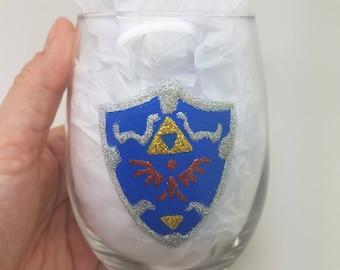Legend of Zelda Hyrule Shield Link Hand Painted Sparkle Glitter Wine Beer Glass