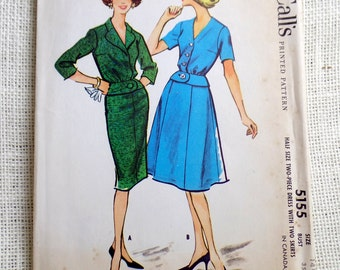 Vintage Pattern McCall's 5155 dress sewing Full Skirt Jacket Wiggle Dress Peplum First Lady Suit Skirt 1950s Jackie Kennedy Bust 35 1959