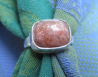 Sunstone Cushion Rectangle in Argentium Ring Size 9