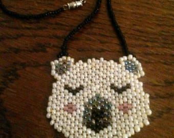 bear head necklace / animal / cute beads