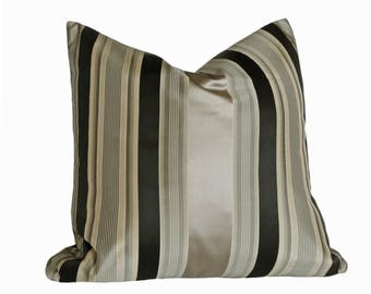 Striped Pillow, Throw Pillow Cover, Decorative Pillow, Metallic Pillow, Silk Pillows, Black Grey Pillows, 16, 18, 20, Clearance SALE