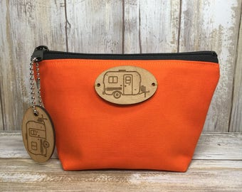 U-HAUL Fiberglass Egg Camper Pouch, Gusset Bottom Bag, Flat Bottom Bag, Toiletry Pouch, Cosmetic Bag, Small Cotton Pouch, Egg Rally, Camping