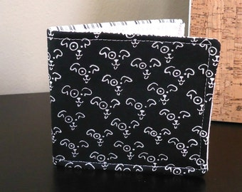Boy's Wallet with Black and white dogs Ready to ship Vegan cotton wallet Guys Kids Bifold wallet Boyfriend gift Pet parent gift under 30