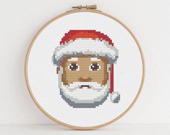 Medium Skinned Santa Emoji Counted Cross Stitch Pattern: Digital Download