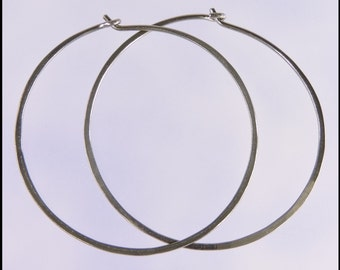 Medium 18 gauge niobium hoop earrings: 1 and a half inch diameter