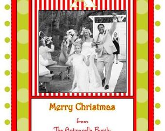 Red and Lime Monogram Photo Christmas Card