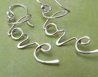 SUMMER SALE - L O V E ... Handwriting Earrings - Sculpted Artisan Design in Sterling Silver