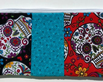 Sugar Skulls Patchwork Zipper Pouch: Day of the Dead.