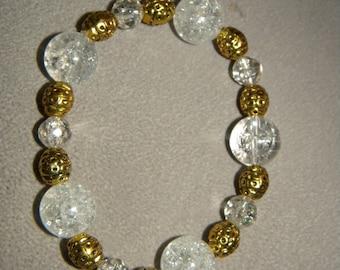 Gold Bracelet, Clear, Crackled, Glass Beads, Gold Beads, Beaded Bracelet, Stretch Bracelet