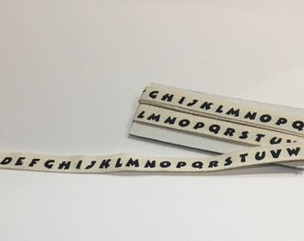 ABC Twill Tape Ribbon, Alphabet Ribbon, School, DIY, Craft, Sewing, Embellishing