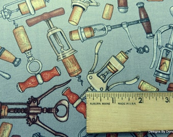 """One Half Yard Cut Quilt Fabric, Different Corkscrews on a Dark Gray Background, """"Over a Barrel"""" by Dan Morris, Sewing-Quilt-Craft Supplies"""