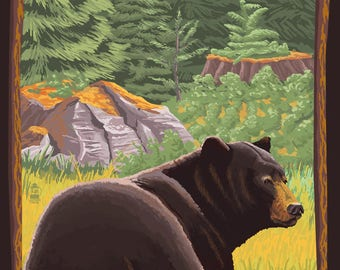 Coeur D'Alene, Idaho - Black Bear in Forest - Lantern Press Artwork (Art Print - Multiple Sizes Available)