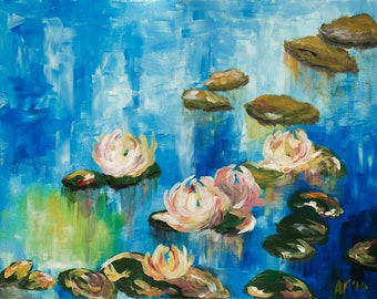 Pond with Lilies - Limited Edition giclee - inspired by Monet