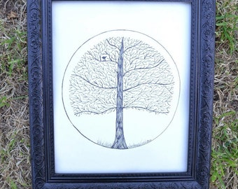 Winter Tree Wall Art Print of Original Ink Drawing - Limited Edition Signed Illustration