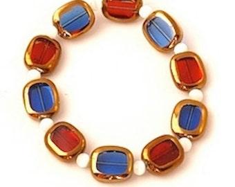 Patriotic Jewelry / Bracelet-Earrings  / July 4th / Red,White,Blue Jewelry
