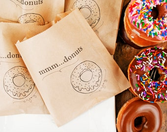 Wedding favor donut bags - party bags - sprinkle doughnuts - Hosting Bags - Kraft food service bag - 20 grease resistant Bags