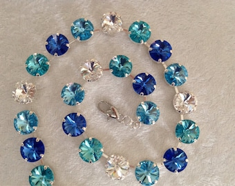 12mm swarovski crystal necklace- turquoise, sapphire, and crystal clear- formal- wedding jewelry- holiday gift-