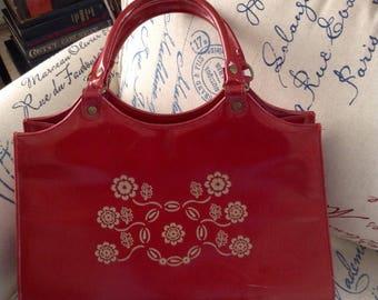 Vintage red floral vinyl handbag
