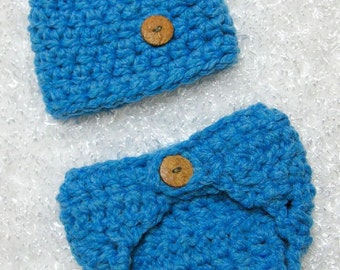 Chunky Diaper Cover and Hat Set Baby Blue