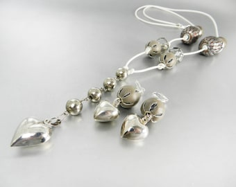 Silver Heart Necklace and Earrings White Leather Long Y Necklace Chunky Taupe Beaded Necklace Lever Back Earrings