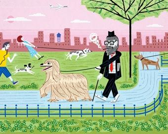 The Dog Walkers - Limited Edition Art Print - iOTA iLLUSTRATiON