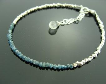 Genuine Blue Raw Rough Uncut Diamond 925 Sterling Silver Bracelet or Necklace