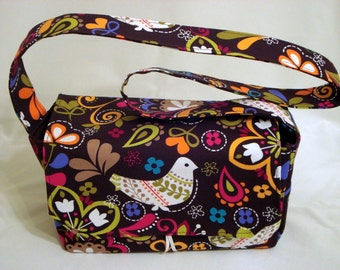 "Large 4"" Size Fabric Coupon Organizer Holder Box- Attaches to your Shopping Cart BIRDS OF NORWAY"
