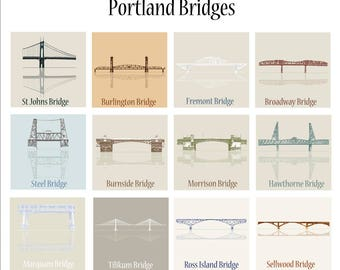 Portland Bridges. Portland Oregon. Portland Bridges Art. Portland Bridges illustrated Poster. St Johns Bridge. Portland Art, Bridges Art
