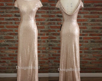 Cowl Back Bridesmaids Dresses,Cheap Bridesmaid Dress Long,Gold Sequins Formal Dresses,Evening Special Occasion Dresses,Bridal Party Dress