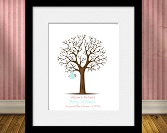 Thumbprint Tree, Gender Reveal Party, Baby Shower Thumbprint Tree, Keepsake Thumbprint Guest Book, Nursery Decorations