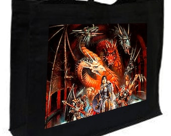 Dragon Wars Fantasy Shopping Bag with gusset and long handles, 3 colour options