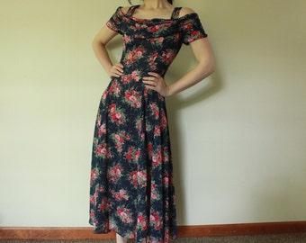 Vintage Semi Sheer Floral Princess Off the Shoulder Maxi dress