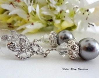 Grey Pearl Earrings Swarovski Pearl&Crystal Earrings Gray Wedding Jewelry Bridal Earring Grey Bridesmaid Earrings Mother of Bride Groom Gift