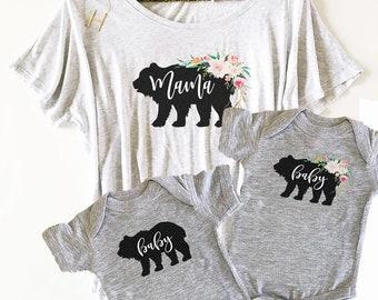 Rustic Mama Bear Shirt and Baby Bear Onesie