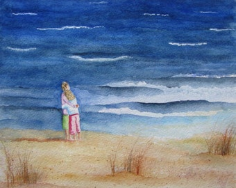 Beach Lovers Painting, Beach Love Print, Coastal Art, Mother Daughter Love, Beach Love Watercolor, Beach Wall Art, Beach Home Decor, Beach