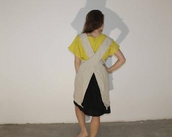 Japanese apron,Green Blue Black pinafore apron, linen pinafore apron, cross back apron, gift pinafore, pinafore apron, apron with pockets