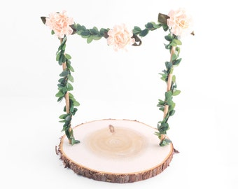 ADD ON Garden vine arch with Base- banner with vines cake topper and base - garden wedding cake topper with base