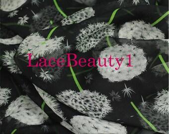 Black silk chiffon with printing soft chiffon venice chiffon floral chiffon fabric apparel chiffon dress chiffon vintage chiffon